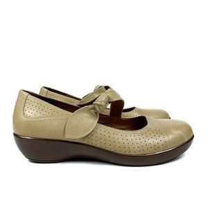 Dansko Tan Perforated Leather Mary Jane Shoes